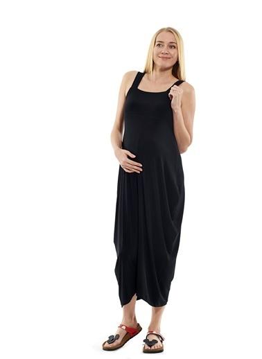 Motherway Maternity Şalvar Hamile Elbisesi Siyah